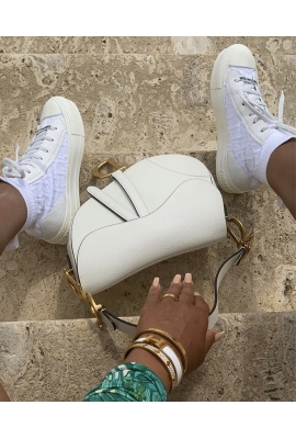DIOR WHITE ON WHITE SOCK TRAINERS ( LOW TOP )