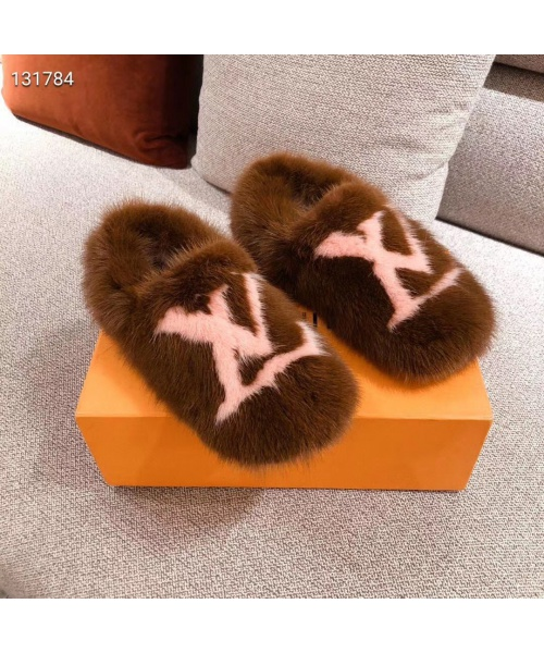 LV REAL FUR SLIPPERS